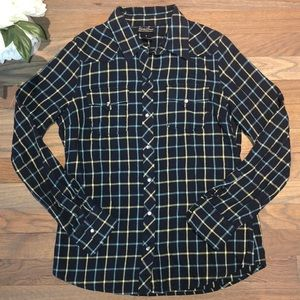 Lucky Brand Western Plaid Pearl Snap Button Shirt